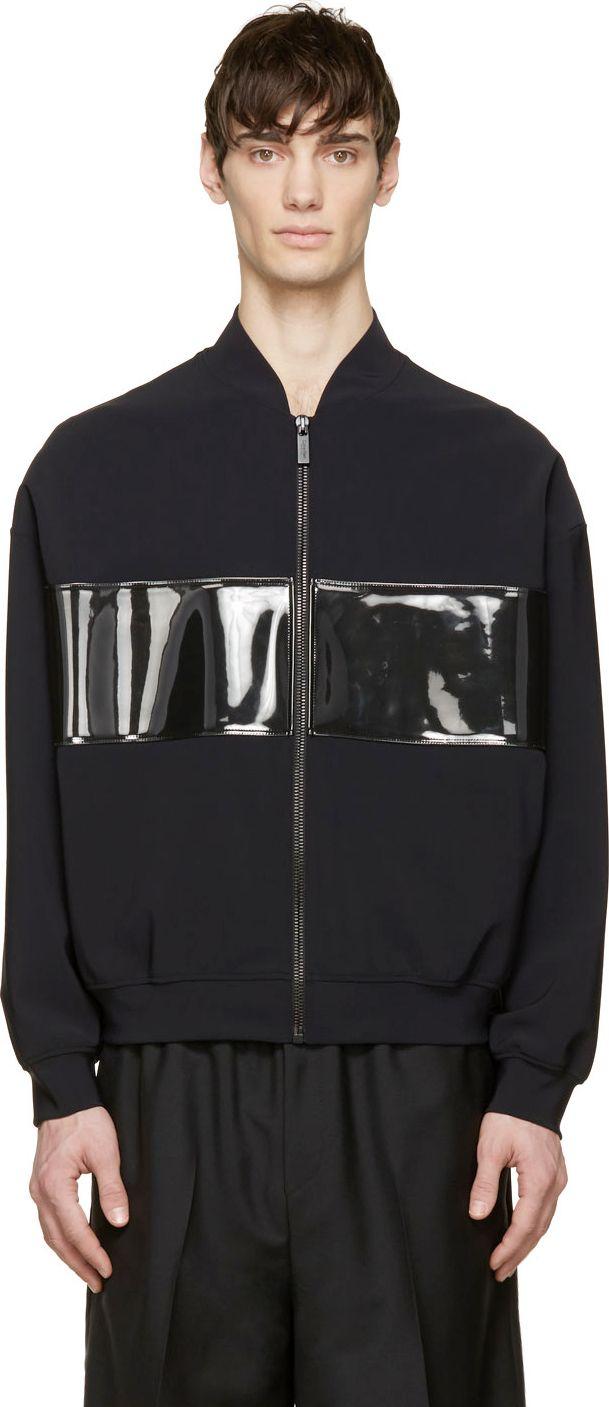Calvin Klein Collection - Black PVC Panel Bomber Jacket