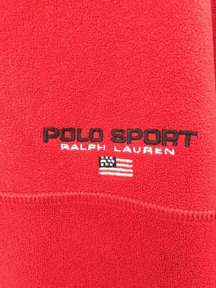 Vintage Polo Sport Ralph Lauren Quarter Zip Fleece Sweater Size Men L #PoloSport #14zip