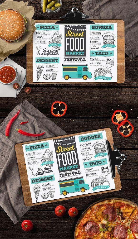 Food Truck Menu by BarcelonaShop on @creativemarket