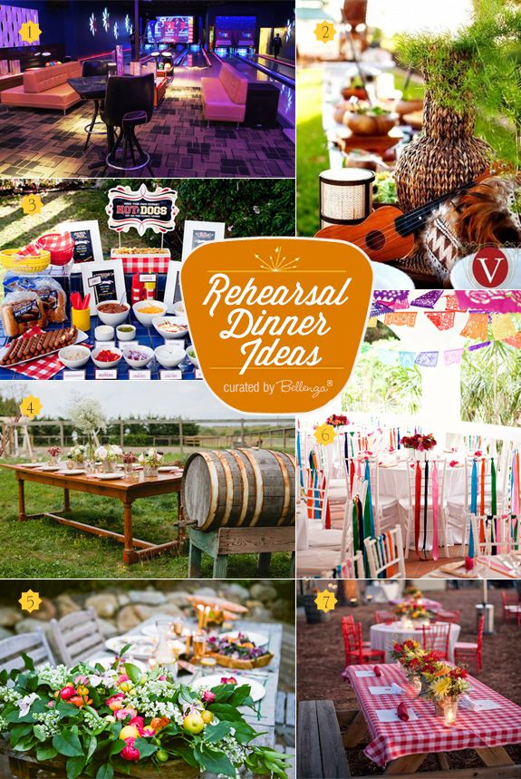 Fun and alternative rehearsal dinner themes for summer from a bowling alley bash to a summer bbq picnic to a fiesta party theme. #engagementpartyideas #engagementpartythemes #engagement