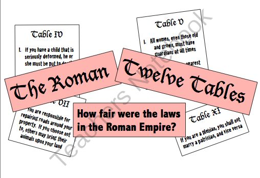 The+Twelve+Tables:++How+Fair+Were+the+Laws+in+the+Roman+Empire?+from+Mr+Educator+on+TeachersNotebook.com+-++(11+pages)++-+Students+examine+the+Twelve+Tables,+complete+a+Q&A+activity,+then+write+in+an+opinion+column!