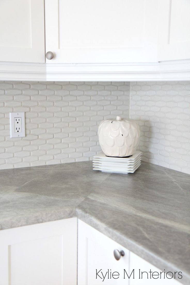 Hexagon shape subway tile backsplash, soapstone sequoia countertops by formica and maple shaker cabinets painted Cloud White by Kylie M Interiors Online Colour Consulting and E-Design