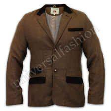Mens Jacket Brave Soul Coat Blazer Wool Mix Tweed Herringbone Cord Patches