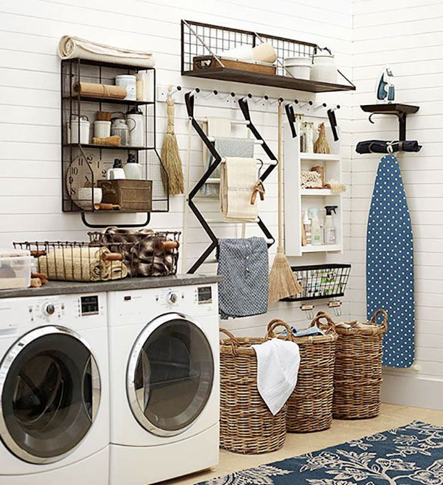 Simple, functional laundry room filled with black, white and lots of texture!