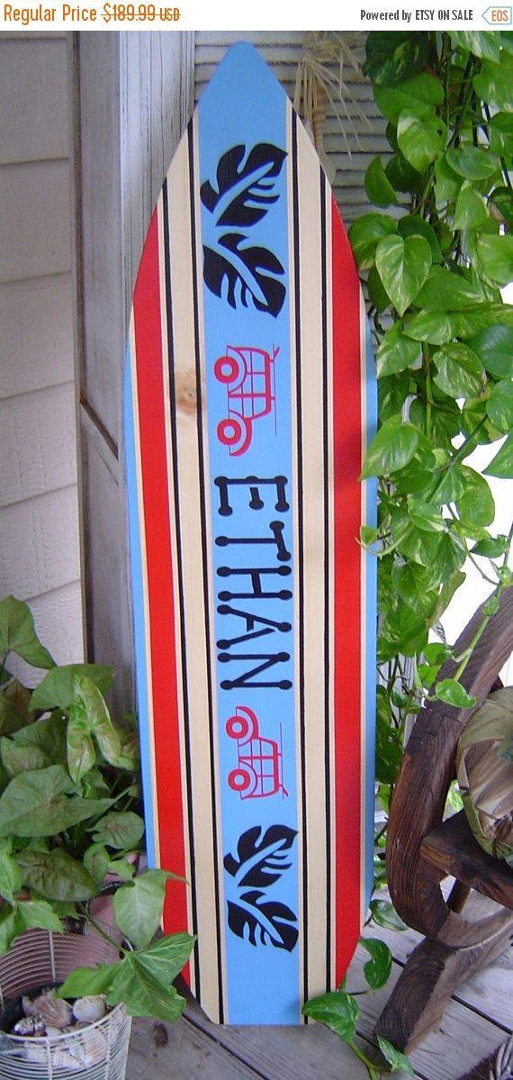 HOLIDAY SALE 4FT Surfboard.  Personalized. Hawaiian Beach Wall art / Surf Decor / Boy Girl / Headboard / Lots Designs 2 Sizes Unisex Style by SundayTreasures on Etsy