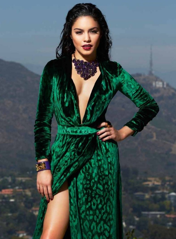 vanessa hudgens in a stunning, animal print emerald green with plunging v neck.