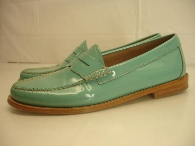 SOLD Womens 10 M G.H. Bass Whitney Turquoise Patent Leather Penny Loafers Shoes Flat  | eBay