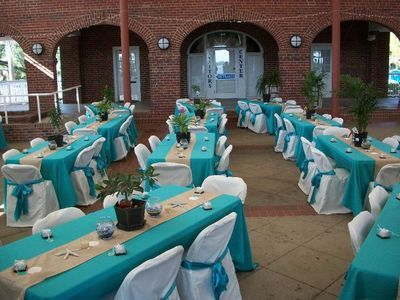 Perfect Aqua Tablecloths, White Chair Covers And Champagne Or Burlap Table Runners.  Loverly Design For