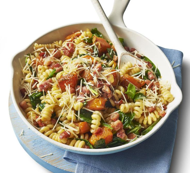 This easy pasta dish with pancetta, butternut squash and spinach makes a healthy weeknight dinner - fresh rosemary adds extra flavour