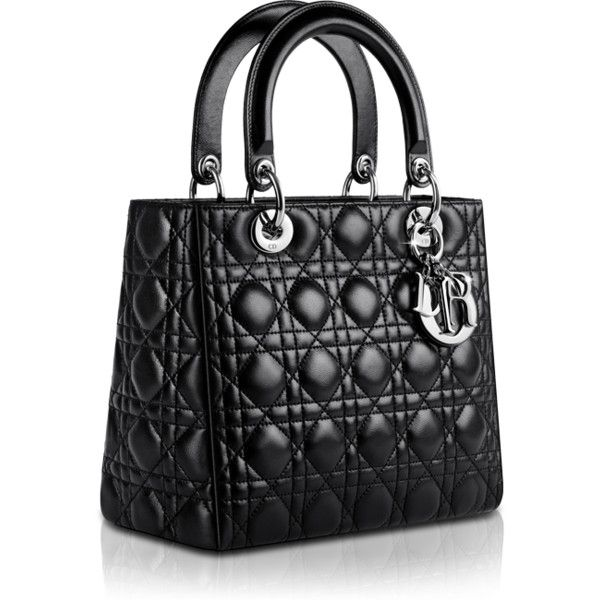LADY DIOR Lady Dior bag in black leather ❤ liked on Polyvore