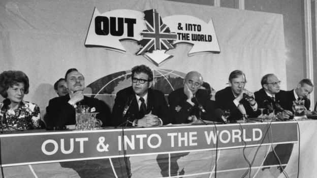 The 1975 British Referendum on the EU. Labour left-wingers shared a platform with Tory right winger Enoch Powell (second left)