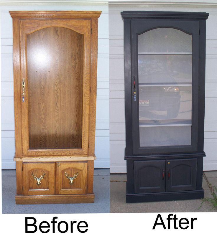 Repurposed, refinished gun cabinet to curio cabinet