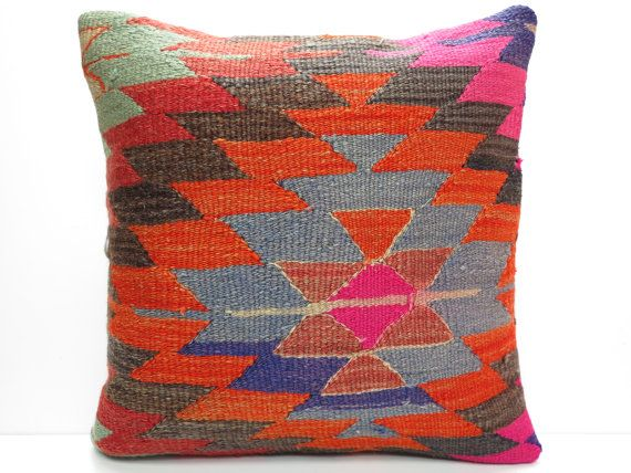"FREE Shipping / Home Decor,Handwoven Turkish Area Rug Kilim Pillow Cover 16"" X 16"",Decorative Rug Pillow,Vintage Rug Pillow,Throw Pillow"