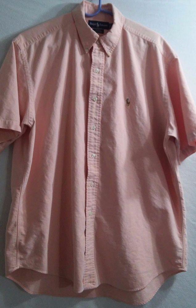 "Ralph Lauren ""Blake"" Mens Short Sleeve Shirt Size L Nice Polo Emblem D20 #PoloRalphLaurenBlake #ButtonFront"