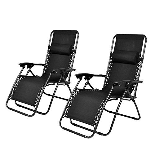 PayLessHere Zero Gravity Chairs Lounge Patio Chairs Outdoor Yard Beach New (Set of 2)