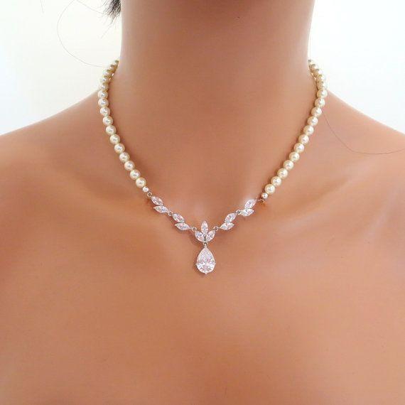 Bridal earrings Wedding necklace Crystal earrings by treasures570