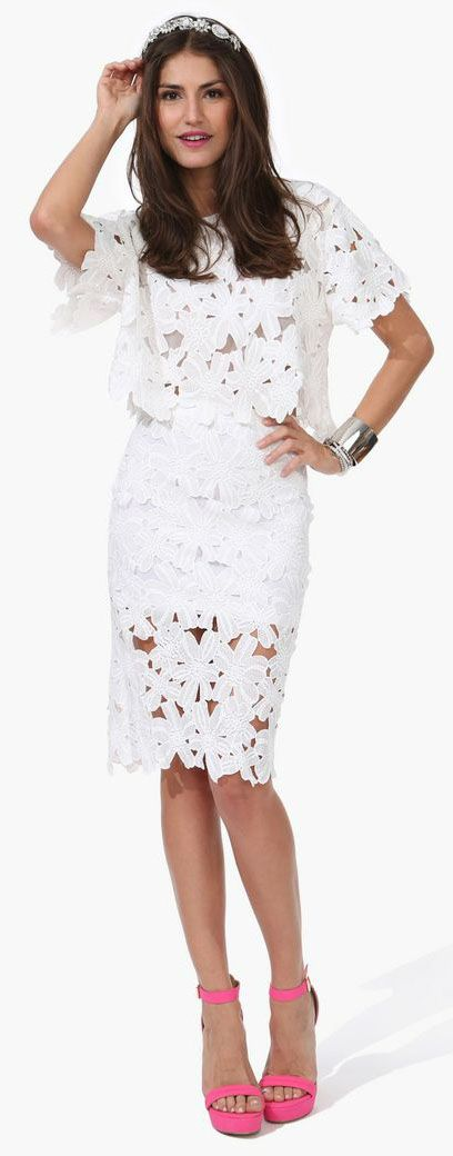 White lace top and skirt