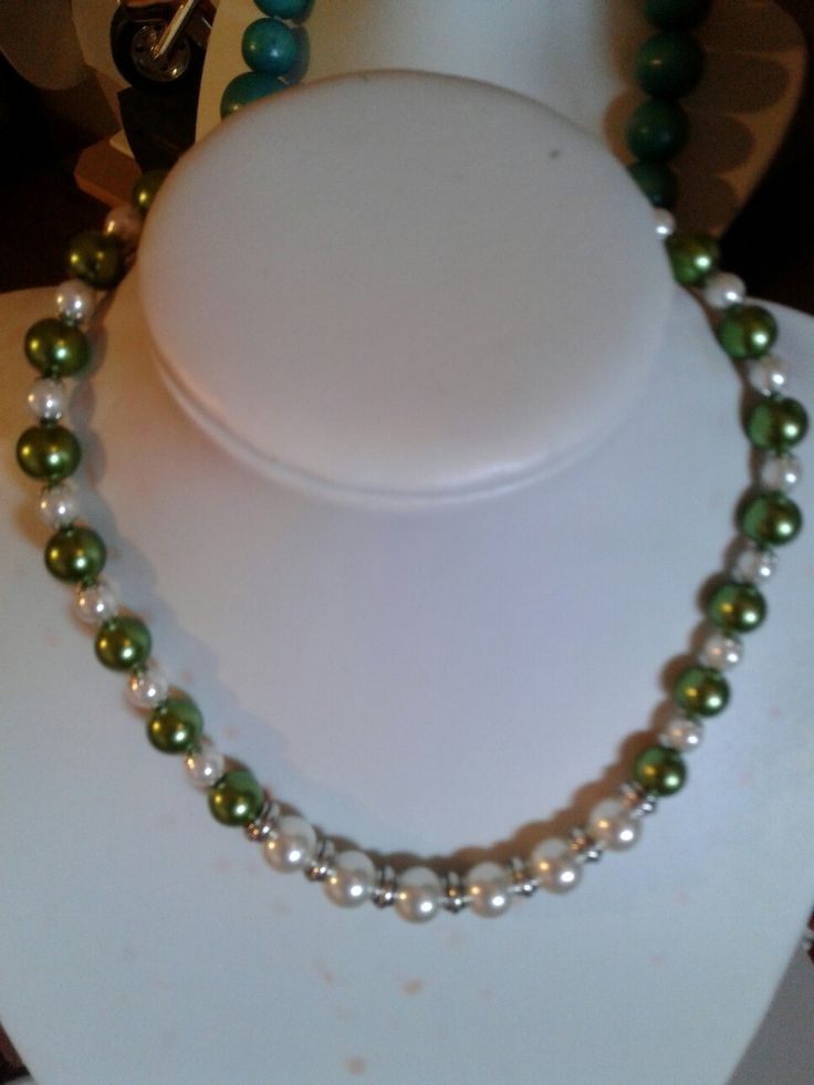 cream and green pearls