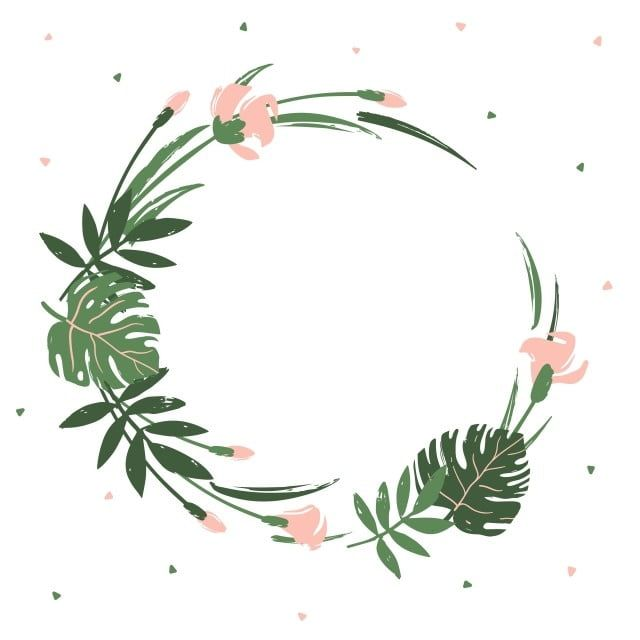 Round Frame Of Tropical Leaves And Flowers Tropical Leaf Frame Png And Vector With Transparent Background For Free Download Tropical Frames Flower Frame Tropical Flowers