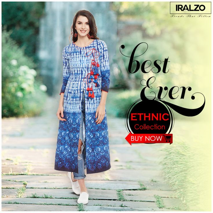 #IRALZO_Kurti Get your tribe look on this #summer with our #Blue_tie_and_dye_Angrakha_kurti.It is the only wear which can easily be paired with jeans, trousers, leggings. Click on this link to buy https://www.iralzo.com/ethnic-wear/Kurtas-tunics