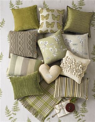 Green, cream and neutral cushions