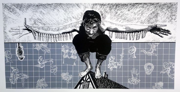 The Nascent Art of Flying  Chris Diedericks  Linocut on Hahnemuhle 300gsm etching paper