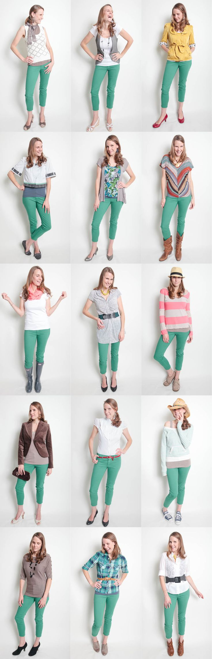 Green jeans - You can wear them so many ways! Proof that I am not thinking through my closet very well.