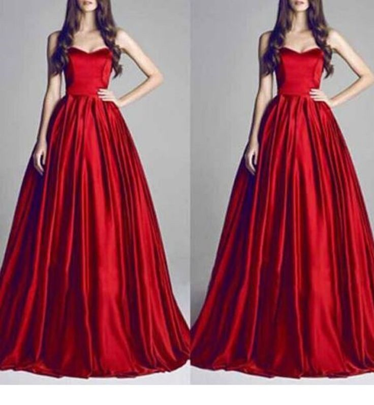 Stunning Holiday Gown! Xmas Red Fashion Strapless Red Maxi Party Dress #Stunning #Red #Long #Party #Dress #Holiday #Gown #Fashion