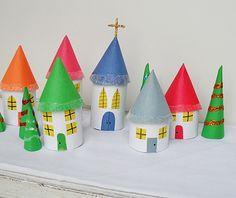 Поделки из втулки от туалетной бумаги: игрушечные домики