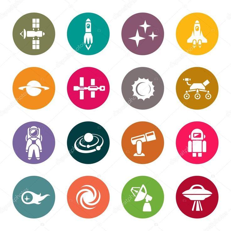 Conjunto de iconos de espacio — Ilustración de stock #61684097