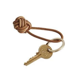 Knot nyckelring - läder-mässing - OYOY