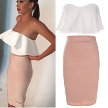 Women Fashion Sexy Elegant Two Pieces Strapless Sleeveless Backless Ruffle Crop Tops And Solid Pencil Skirt Set
