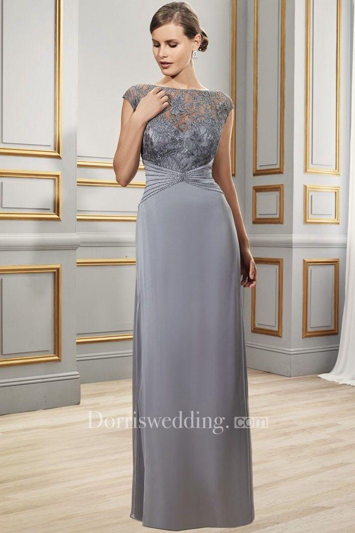 930c78de1c4 Cap Sleeve Appliqued Bateau Neck Chiffon Formal Dress in 2018