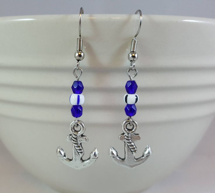 Blue Faceted Crystal, White and Silver Anchor Dangle Earrings, Nautical Earrings, Naval Earrings http://etsy.me/2DnDrxk #jewelry #earrings #blue #earwire #pewter #women #white #nautical #anchor #dangleearrings #SnapdragonJewelryCo