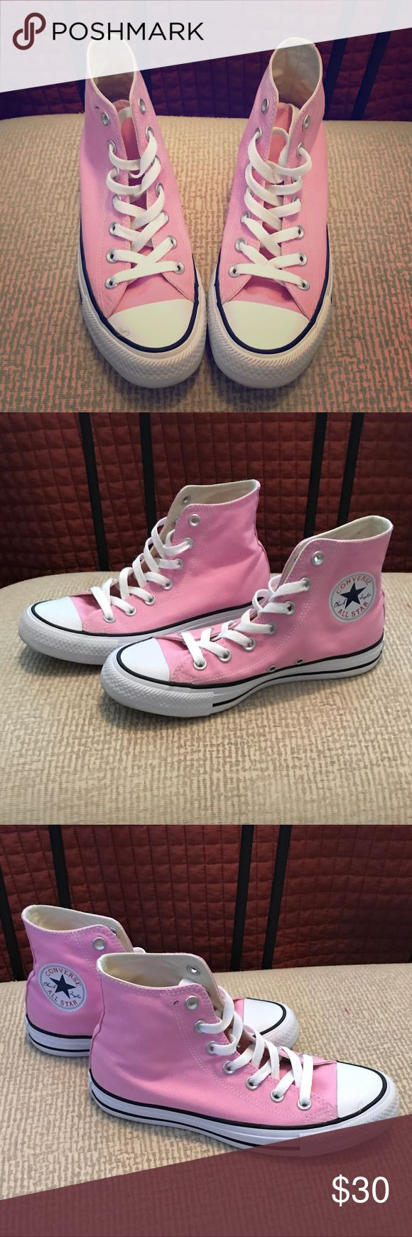 Pink High Top Converse - LIKE NEW! LIKE NEW - Only worn once!  Pink, High-top Converse Women's Size 7 Converse Shoes Sneakers