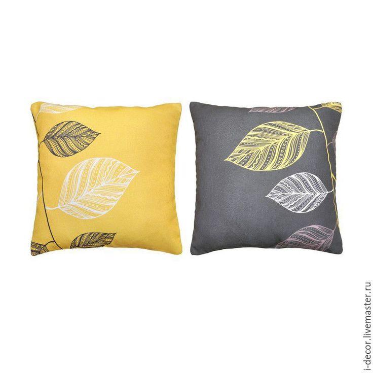 Купить Пара декоративных подушек из коллекции Стебель. Темный лист. - желтый, подушка, подушка декоративная