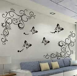 3D lowest price calssic black butterfly flower wall sticker
