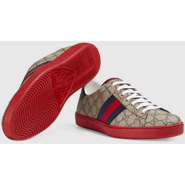 Gucci Ace Gg Supreme Sneaker ($475) ❤ liked on Polyvore featuring men's fashion, men's shoes, men's sneakers, men's low top sneakers, men's low top shoes, gucci mens shoes, mens snake skin shoes and gucci mens sneakers