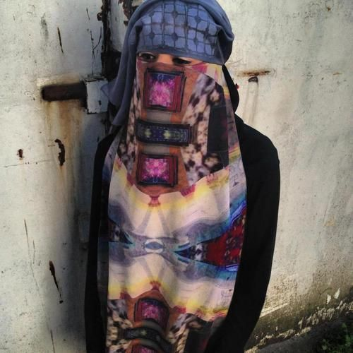 Psychedelic printed burka ! There's always a first !