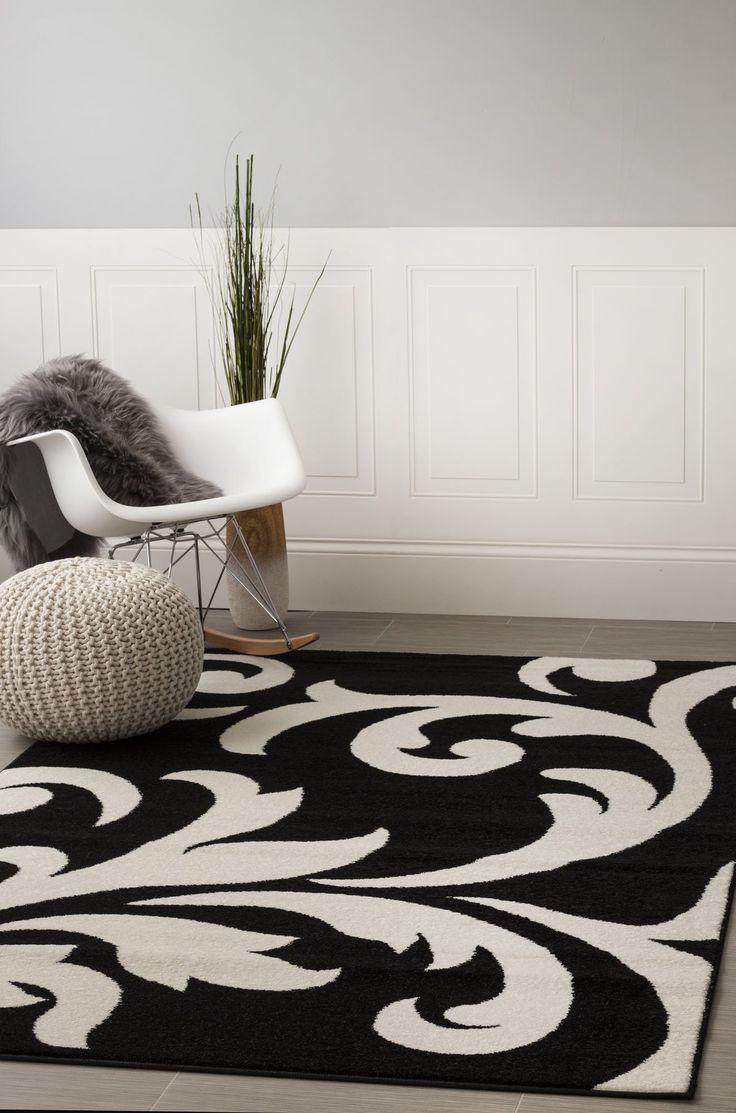 Contemporary Black Damask Rug 7-Foot 10-Inch x 9-Foot 10-Inch Designer Area Rug