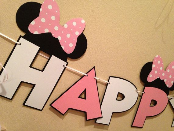 Minnie Mouse Banner 1pc Minnie Party Minnie Mouse Happy Birthday 8+ foot Banner Custom Age Minnie Party Decorations ! on Etsy, $28.07 CAD