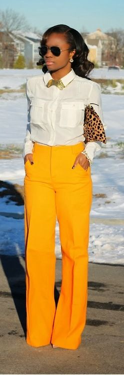So in love with these mustard wide-leg pants!! When winter is dreary bring out the color!