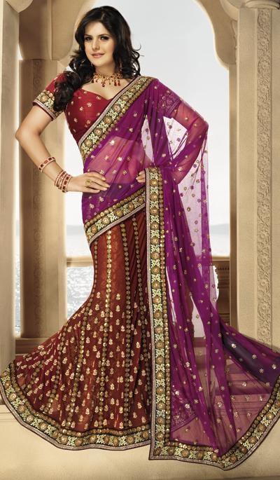 Purple Ochre Net Embroidered Wedding Lahenga Saree