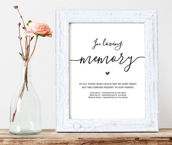 In Loving Memory Printable Wedding Memorial Table Sign From TuttoPrint Get It On