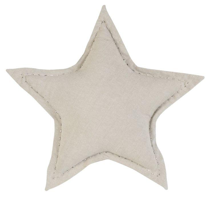 Sierkussen Mirre: van linnen en katoen in de vorm van een ster #kerst #winter