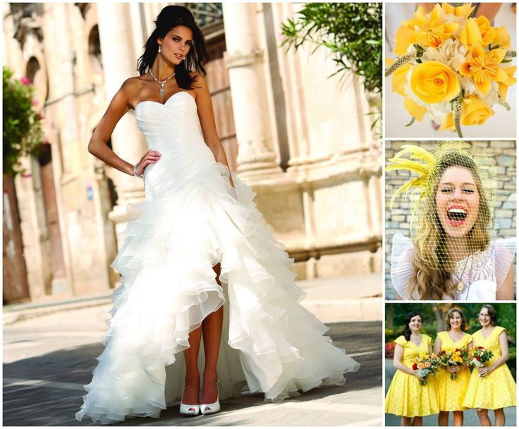 Kleurinspiratie: gele kleuraccenten voor jullie bruiloft met Linea Raffaelli trouwjurk www.weddings.nl