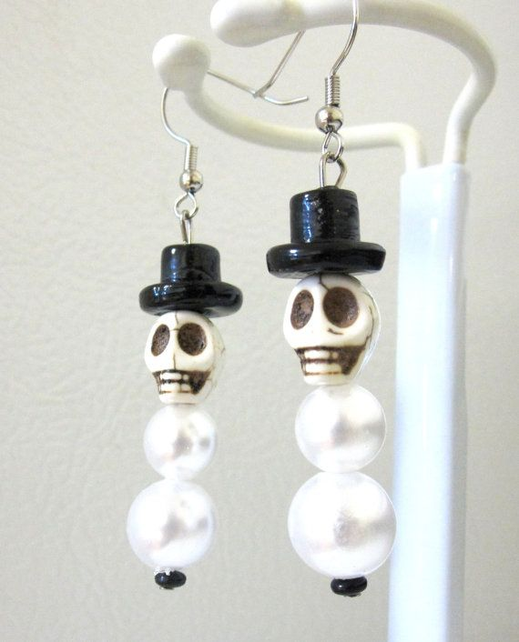 Skull Snowman Earrings Day of the Dead Jewelry by sweetie2sweetie, $10.99