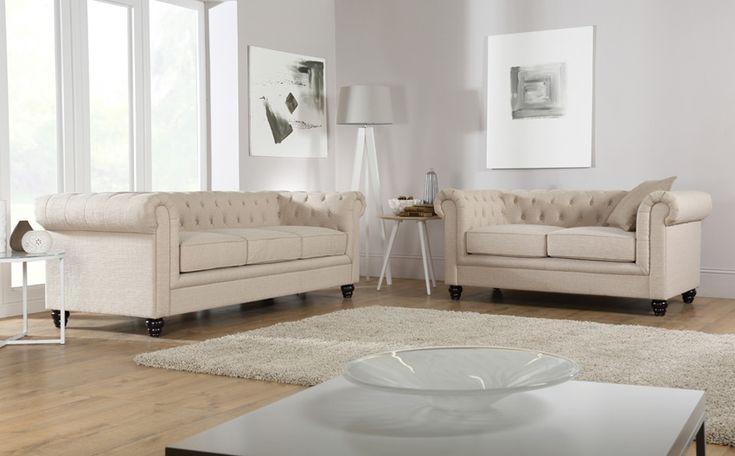 Hampton Oatmeal Fabric Chesterfield Sofa