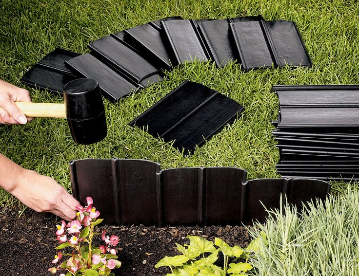 "Pound-In Landscape Edging | Plastic Garden Edging | Gardeners.com 1 set makes a 20' edge - 12"" $49.95"