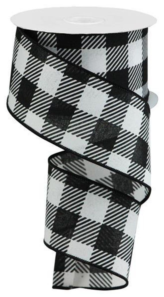 """10 Yards 2.5/"""" Black//White Houndstooth Wired Ribbon"""